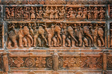 Beautiful Terracotta Carving Scenes Of Palace Life (top) And War Elephants Procession (bottom) At Kantaji Aka Kantajew Medieval Hindu Temple In Kantanagar, Dinajpur, Bangladesh