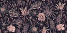 Spring Background. Floral Seamless Pattern. Vector. Vintage.