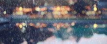 Abstract Autumn Rain Background In The Night City, Drops Falling October Night