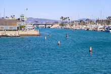 People On Paddle Boats In The Harbor Rowing Through Deep Blue Ocean Water With Boats Docked In The Harbor And Blue Sky At Baby Beach In Dana Point California