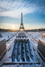 Sunrise At The Eiffel Tower In Winter, Paris, France