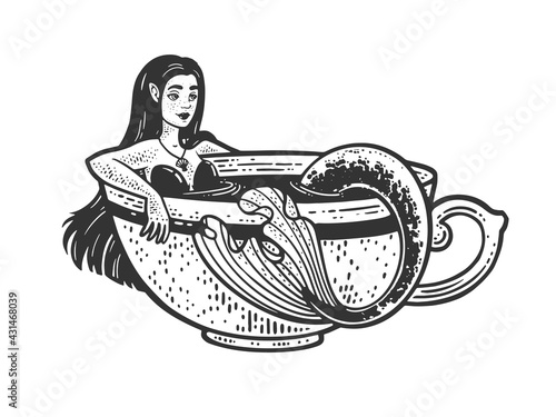 Mermaid taking a bath in cup of coffee sketch engraving vector illustration. T-shirt apparel print design. Scratch board imitation. Black and white hand drawn image. - fototapety na wymiar