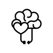 Heart and brain, balance between emotion and logic. Black linear icon with editable stroke on white background