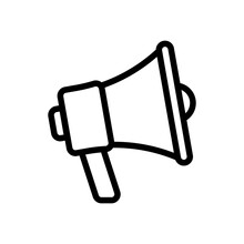 Simple Megaphone Icon, Promotion, Loud Voice. Black Linear Icon With Editable Stroke On White Background