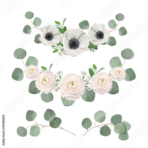 Cuadros en Lienzo floral wreath, eucalyptus leaves, anemone and ranunculus flowers
