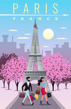 Paris Travel Illustration With Sightseeing Shopping Symbols Flat