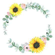 Watercolor Round Frame With Greenery And Sunflower. Hand Drawn Border