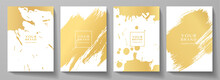 Modern Cover Design Set. Creative Art Pattern With Gold Brush Stroke, Paint Drop (spot) On White Background. Luxury Artistic Vector Collection For Grunge Notebook, Flyer, Poster, Brochure Template