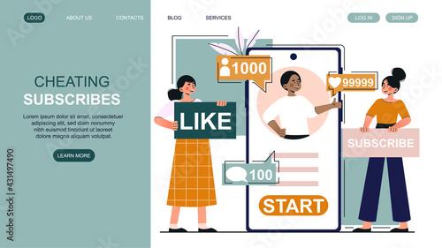 Fotografia, Obraz Female bloggers are subscribers count cheating on social media