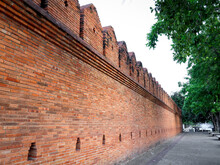 Ancient Wall Of Tha Phae Gate Chiang Mai Old Town City, One Of Famous Historical Sites And Popular Tourist Attraction In Chiang Mai Province, Northern Of Thailand