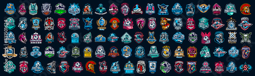Huge set of colorful sports logos, emblems. Logos of knights, horses, superhero, soldier, skier, mountain bike, soccer ball, bear, eagle, cowboyfirefighterVector illustration isolated on background - fototapety na wymiar
