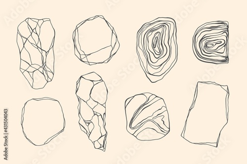 Fototapeta Set of stones with edges, shapes, marble, granite, geodes. Line art style. Black and white grunge crack, curls, waves. obraz