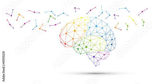 Stampa su Tela icona, network, cervello, fantasia, colori
