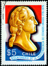Stamp Printed In The Chile Shows George Washington Bust American Bicentennial