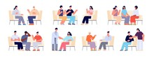 Group Therapy. People Sitting Chairs, Person On Sofa Or Couch Talk With Consultant. Adults Talking, Psychologist And Psychology Support Utter Vector Set