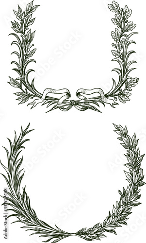 Photo Freehand drawings of triumphal laurel and oak branches with ribbon
