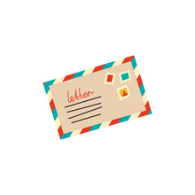 Vector Illustration Of Funky Retro Airmail Envelope With Stamp Isolated On White Background