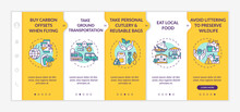 Sustainable Tour Tips Onboarding Vector Template