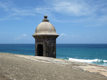 View Of A Sentry Box In The Caribbean In A Sunny Summer Day. San Cristobal Castle, Puerto Rico, USA