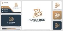 Honey Bee Line Logo Design. Vector Symbol Illustration And Business Card Template .premium Vector