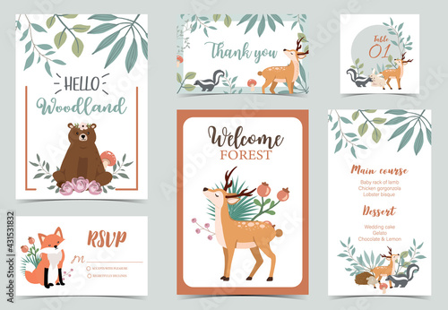 Obraz Collection of woodland background set with leaf,flower,animal.Editable vector illustration for website, invitation,postcard and poster.Thank you - fototapety do salonu