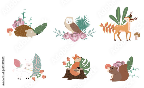 Fototapeta premium Cute woodland object collection with llama,squirrel,fox,deer,mushroom and leaves.Vector illustration for icon,sticker,printable