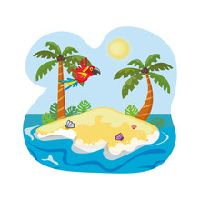 Parrot Flying Over An Island Surrounded By Ocean. Palm Trees And Sea Shells On The Sand.