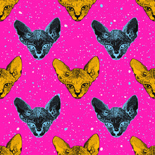 Heads Sphinx Kittens. The Heads Cat On The Acid Pink Background With Dots Memphis. Print Pop Art Theme, T-shirts. Vector