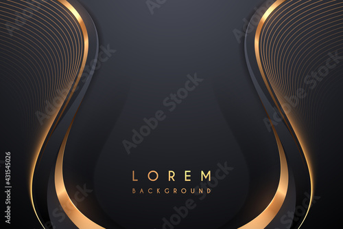 Black and gold elegant lines background - fototapety na wymiar