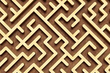 Large Wooden Maze Or Labyrinth Over Brown Wood Background, Success, Strategy Or Solution Concept
