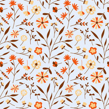 Floral Seamless Pattern With Different Flowers And Leaves