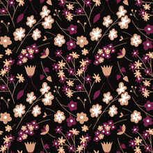 Floral Cute Seamless Pattern With Different Flowers On Black Background