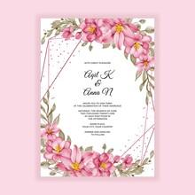 Geometric Gold Flower Pink Watercolor Frame Wedding Invitation