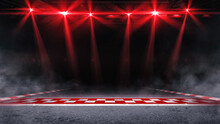 Racing Pole Position With Red Shining Spotlights Above The Mist. Digital Sport 3D Illustration.