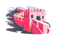 Great Wall Of China Vector Illustration. Chinese Famous Landmark With Watchtowers And Wall Sections On Mountains Flat Style. Culture, Travel And Tourism Concept. Isolated On White Background