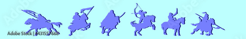 Fotografiet set of cavalry cartoon icon design template with various models