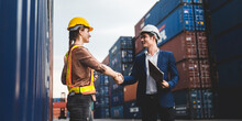 Worker Teamwork And Partner Of Foreman, Engineer, And Businessman Working In An International Shipping Area, Concept Of Business Industrial And Working In Container Yard.