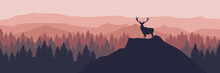 Silhouette Of A Deer On The Top Of Mountain Vector Illustration Good For Wallpaper, Background And Template
