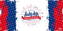 Happy July 4th, Independence Day, Since 1776 Design With Firework Burst Design On Vintage/grunge Red, Blue & Star Background. Promotional Advertising Banner Template For Brochures, Poster, Or Banner.