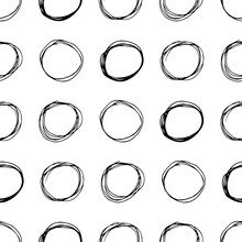 Seamless Pattern With Sketch Circles Shape
