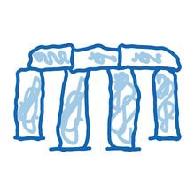 Stonehenge Doodle Icon Hand Drawn Illustration