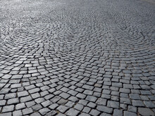 Pavement Covered With Paving Stones In A Semicircular Pattern