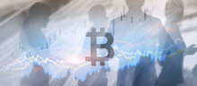 Bitcoin Icon Mixed Media. Cryptocurrency Concept With Double Exposure
