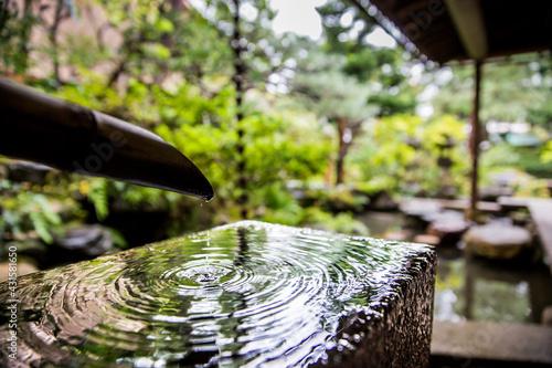 Canvas Print Bamboo natural spring water feature in the Japanese zen garden of the Nomura samurai clan house, Kanazawa, Japan