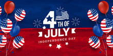 4th Of July Celebration USA Independence Day Design With Star, Fireworks, USA National Flag On Red & Blue Watercolor Banner Background With Balloon & Confetti. Vector Illustration