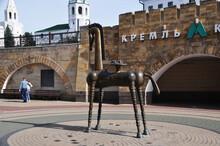 Urban Sculpture. Stylized Figure Of A Horse Made Of Metal Near A Metro Station. September 12, 2017, Kazan, Russia