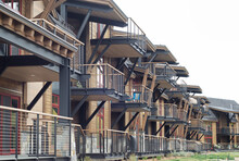 A Series Of Balconies Along The Side Of A Building