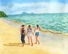 Ragazze Che Passeggiano Sulla Spiaggia