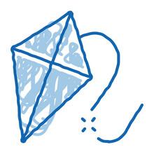 Flying Kite Doodle Icon Hand Drawn Illustration