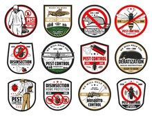 Pest Control Isolated Icons With Vector Pest Bugs And Insects, Insecticide And Exterminator, Cockroach, Mosquito And Fly, Ant, Mite, Spider And Flea, Rat, Mouse, Termite. Pest Control Service Design